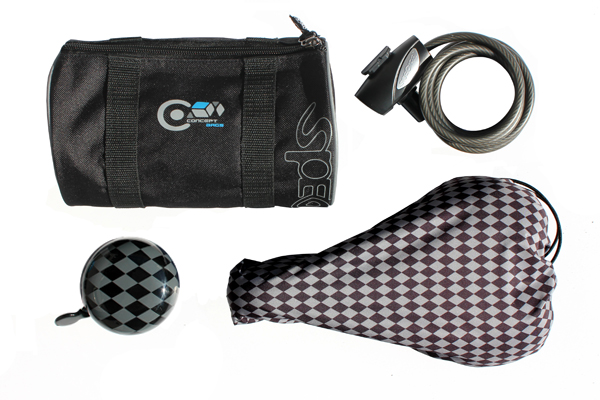 Saddle cover with grey pattern, lock, carrier bag and chess-colored bell