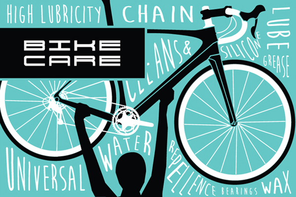 Illustration with words connected to TEC's Bike Care line, chain lube, water repellence and wax.