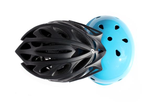 Black commute helmet and blue kids helmet