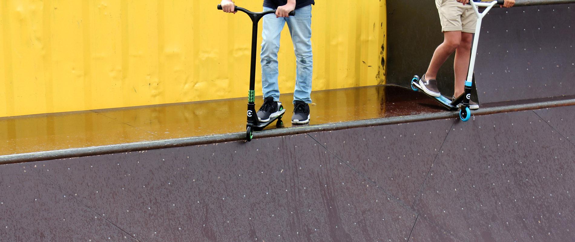 Kick bikes on a trick arena