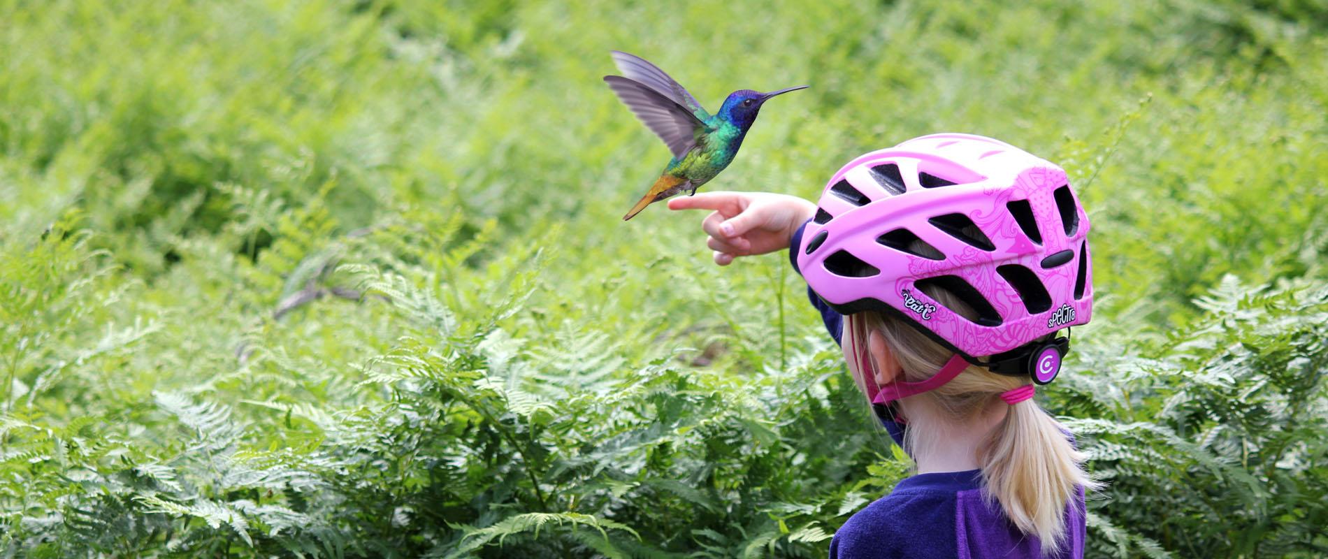 Girl with pink Spectra helmet